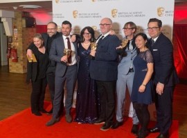 The crew of Play Your Pets Right with their BAFTA Children's award. Image courtesy of Martin O'Byrne/Sarah Clarke