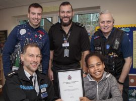 L to R - Chief Inspector Ben Ewart, Jon Ritchie from Salford City Academy, PS Simon Judd, PCSO Ian Moss and Dorota Itoya