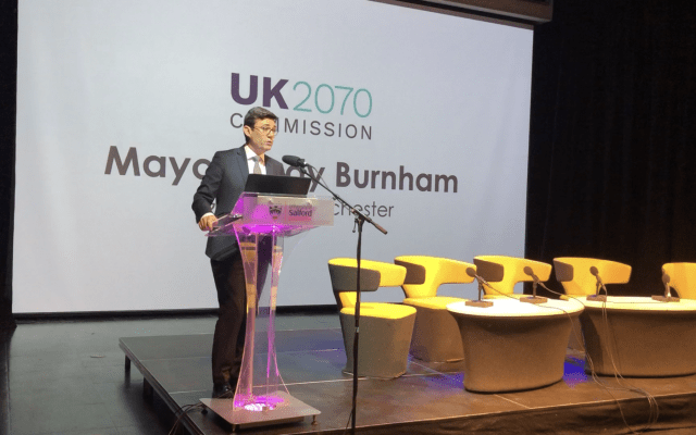 Andy Burnham at UK2070 Commission launch. Credits: Olivia Mullally