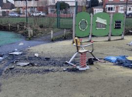 Burnt Wheelie bin