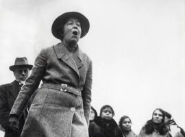 Suffragette Sylvia Pankhurst (women's rights movement), daughter of Emmeline Pankhurst, protesting the English policy in India. Trafalgar Square, London, England, [1907-1914]. Image Credit: Spaarnestad Photo, via Nationaal Archief