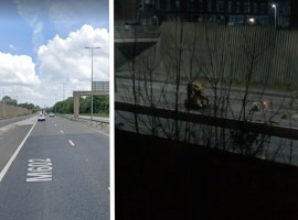 The M602 Motorway. Image on the left; screenshot