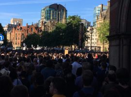 The Manchester Arena bomb vigil. Image Credit: Matthew Lanceley.