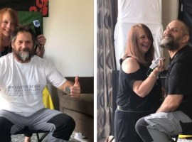 Ian ward before and during his charity shave. Image credit: Broughton House