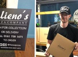 Matthew O' Neill posing with a Llieno's pizza box. Image credit: Greg O' Neill.