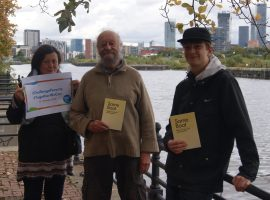 Pictured left to right: Jayne Gosnall, Shaun Kelly and Brody Salmon, local contributors to the anthology. Image courtesy of Church Action on Poverty.