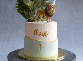 A celebration lion cake made by Gina and Helen Kirby.