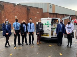 Students successfully fill vans for Salford Foodbank. Photo credit: Gemma Davies