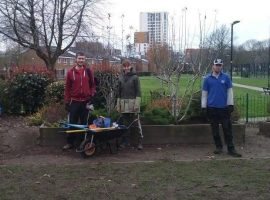 Volunteers working at the park. Images from Laura Calvin, vice chair of Friends of Peel Park