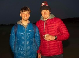 On the left: Conor during his Darkness into light swim