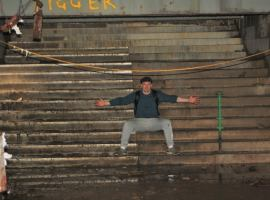 The Derelict Explorer on the steps of the old market, credit: Matthew Holmes