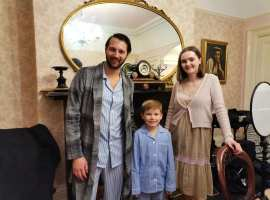 Mattia as his character, Giovanni with his children. Image Credit: Enemy of the Heart