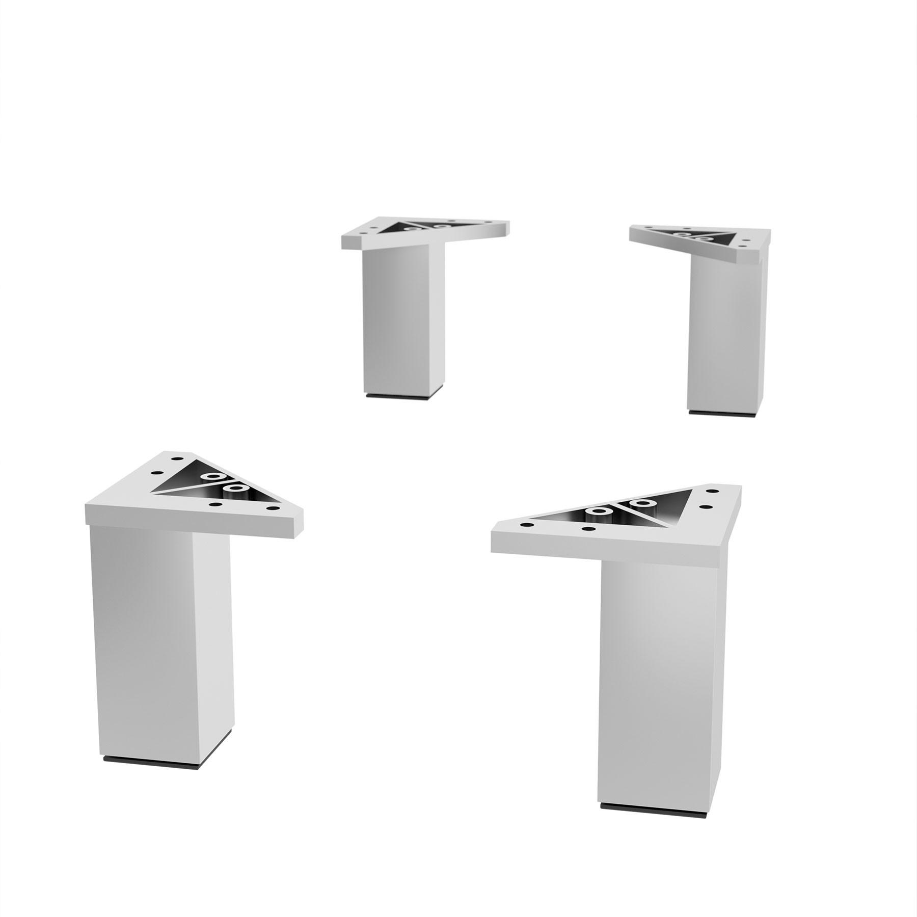 piedini per mobili + filtra. Set Of 4 Legs Gloss Chrome Height 100 Mm