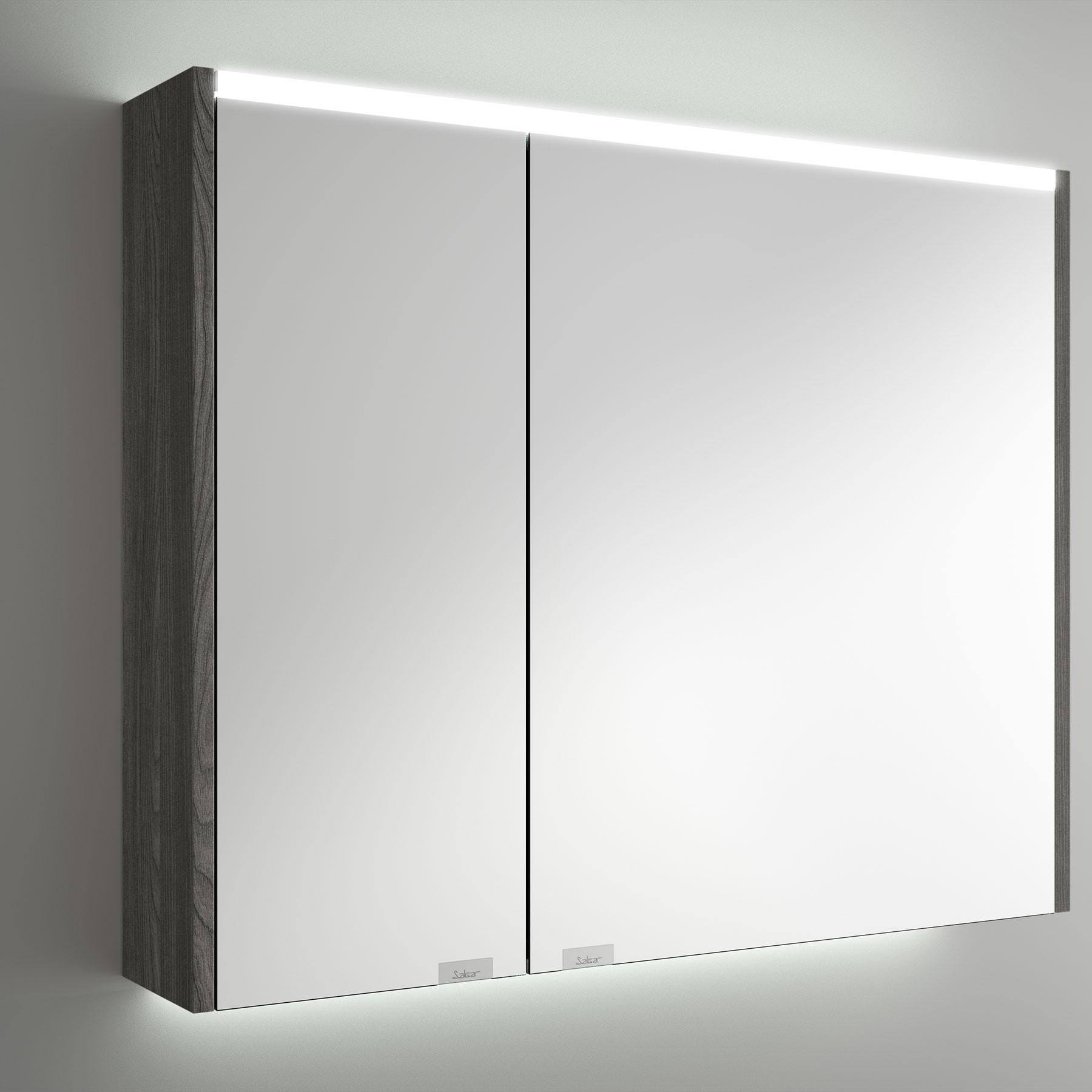 Armoire Alliance 800 Alsace 2 Portes Miroir Double Avec Interrupteur Et Prise Et Lumiere Led Superieur Inferieur Ip44 20w 830 X 666 X 150 Mm