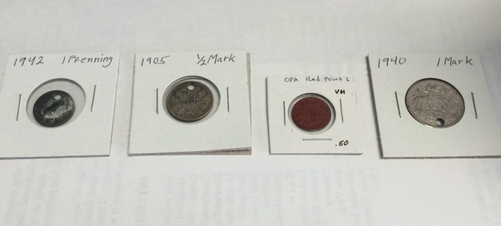 Old German Coins donated to the CCC/POW Camp Museum by the Utah Treasure Association for display there.