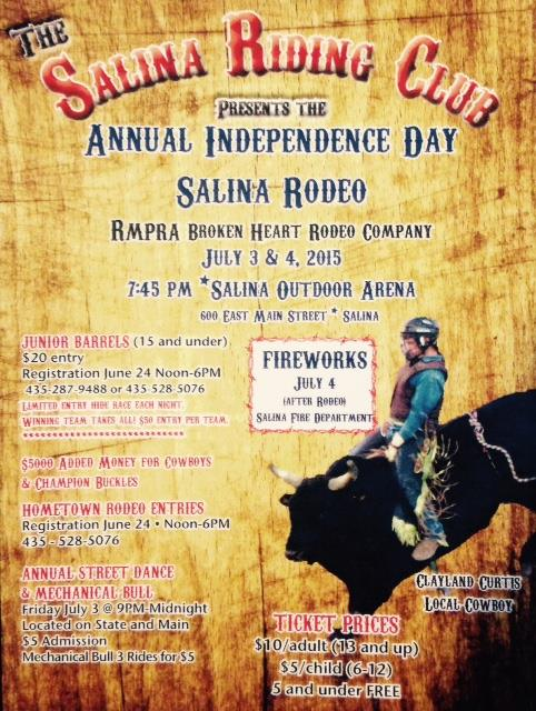 Salina Utah Rodeo July 3rd and 4th 2015