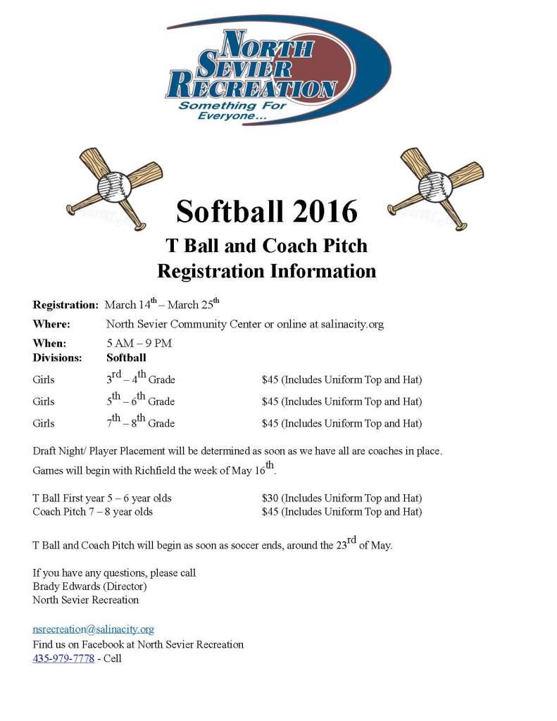 Softball Reg 2016