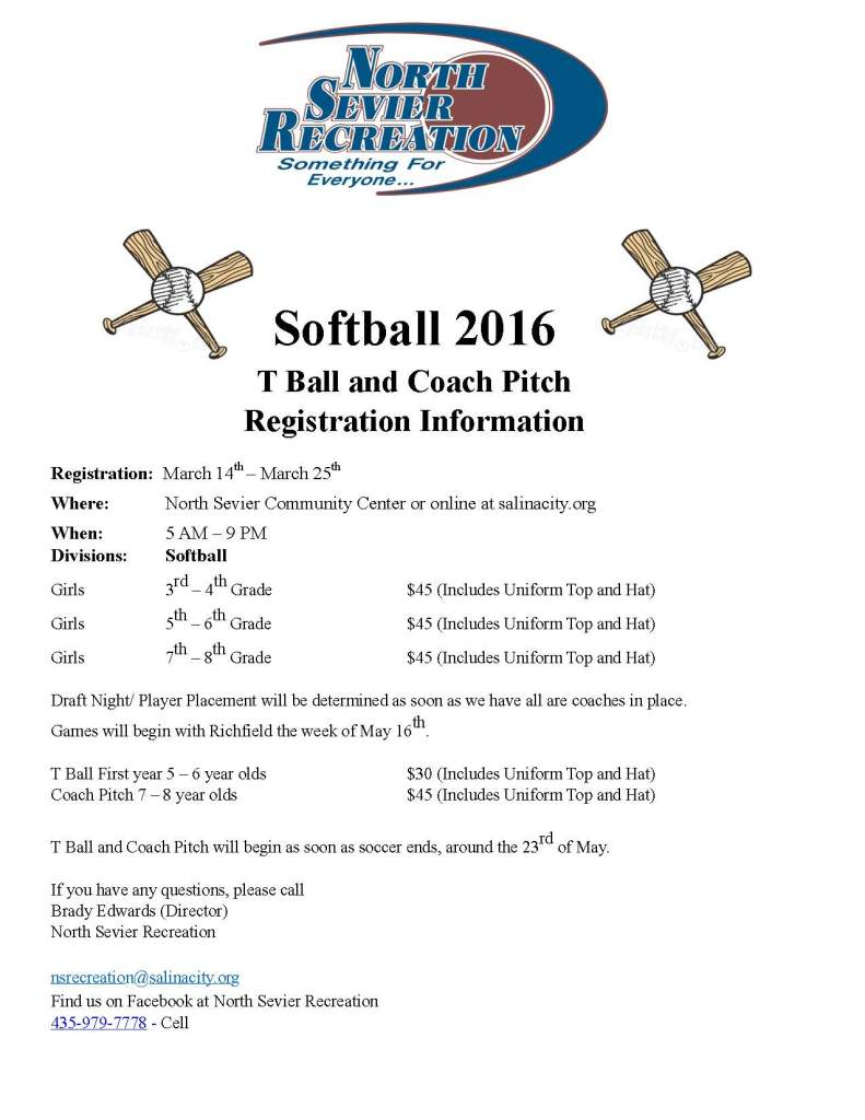 Softball Reg 2016