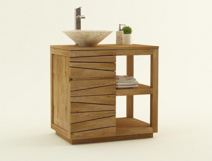 meuble de salle de bain en teck trevise l80 cm