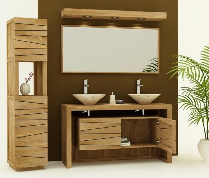 meuble de salle de bain nova l140 cm en teck