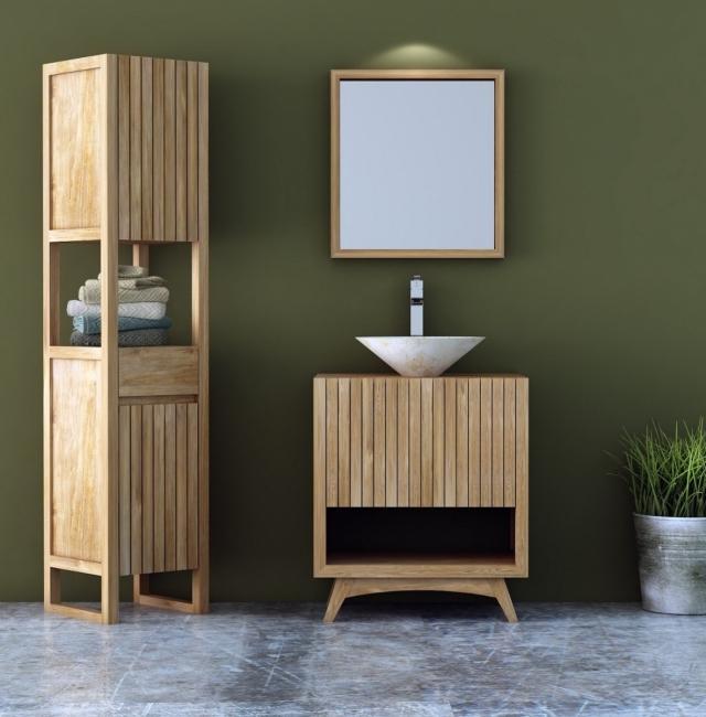 Achat Salle De Bain Teck Vida 70 Cm Meuble Simple Vasque Livraison Offerte Toute France