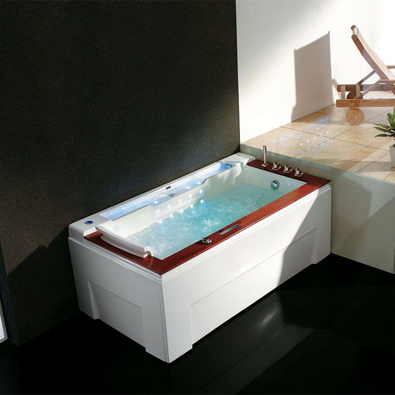 baignoire balneo avec rebords en teck sumba droite