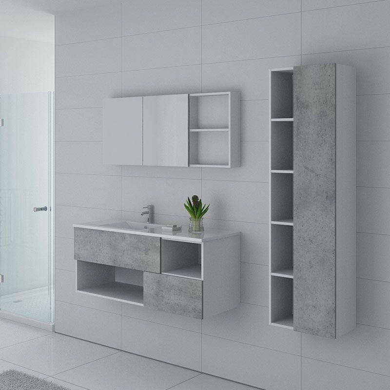 ensemble simple vasque faraldi 1200 beton et blanc