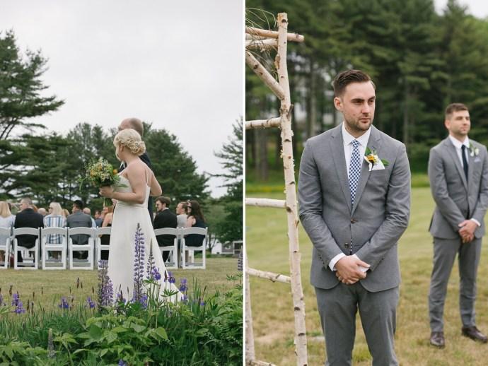 Groom awaits his bride at 1774 Inn Wedding Ceremony
