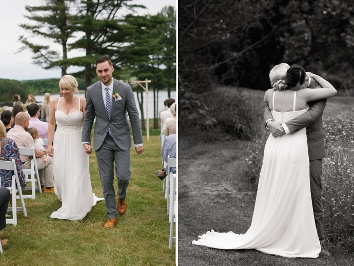 Bride and Groom are pronounced man and wife at natural outside wedding