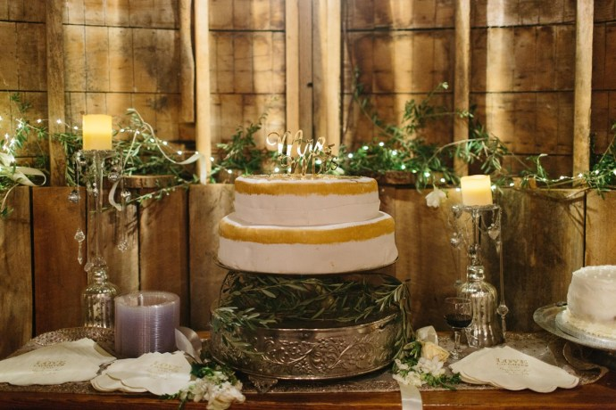 Mr. & Mrs. Wedding Cake with gold decorations