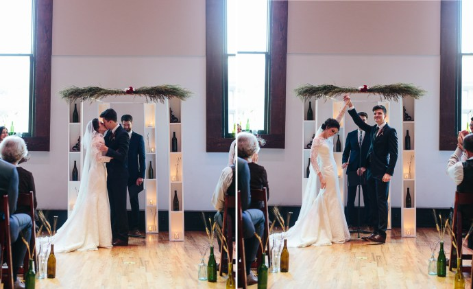 bride and groom kiss at the alter at Nashville wedding