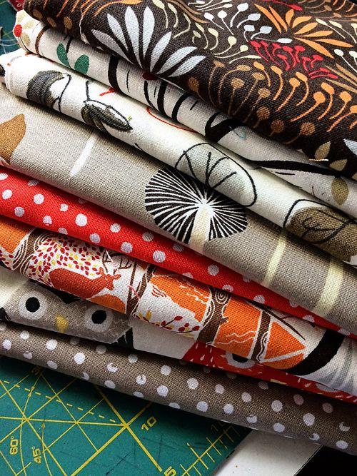 Woodwinked pin cushion fabric