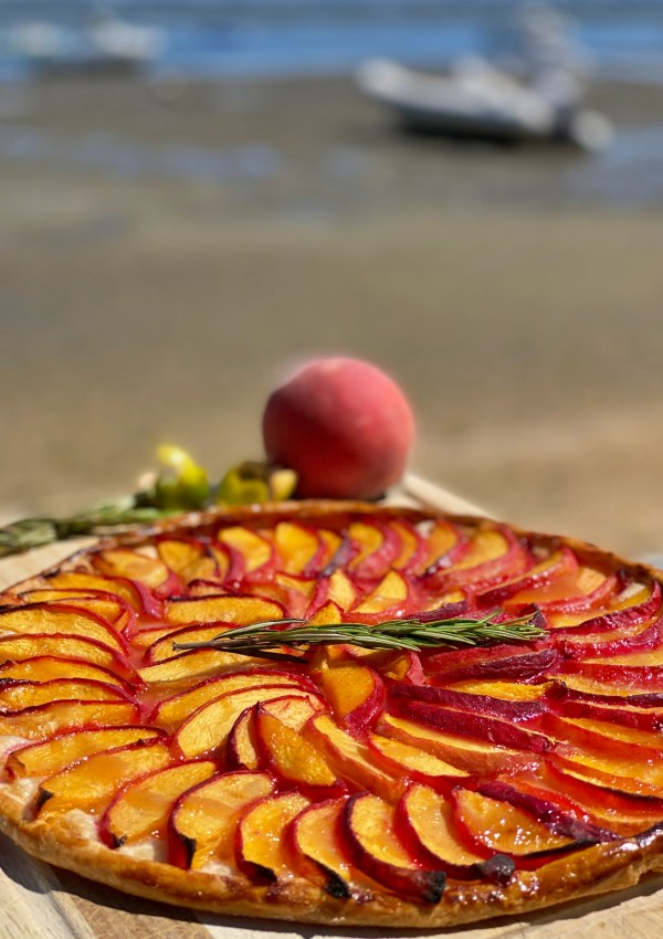 The holiday birthday cake challenge; Peach tart with lime and rosemary
