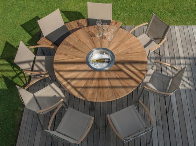 table de jardin ronde bois avec ses