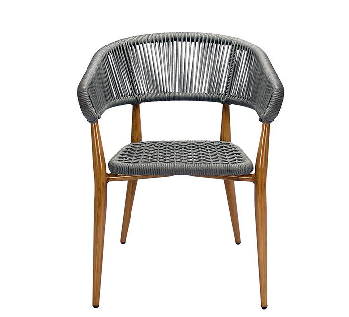 chaise de terrasse bistrot aluminium effet bois