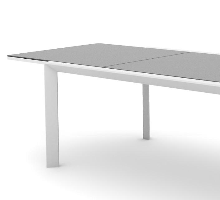table de jardin extensible aluminium plateau verre 220 340cm klara blanc