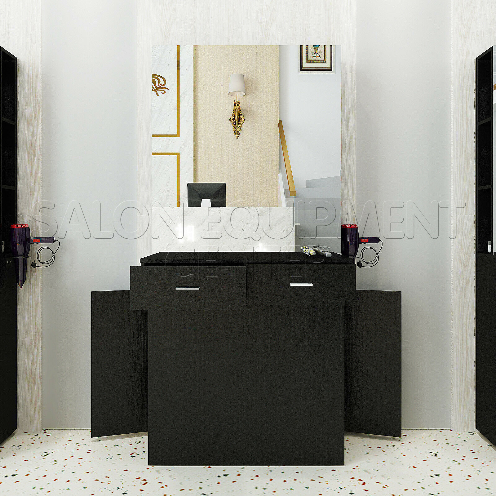 dalia wall mount styling station with mirror