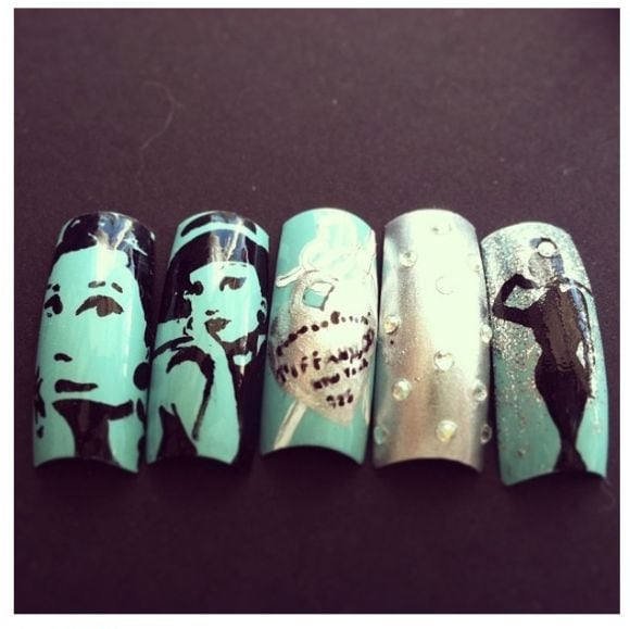 Breakfast at Tiffany's nail art