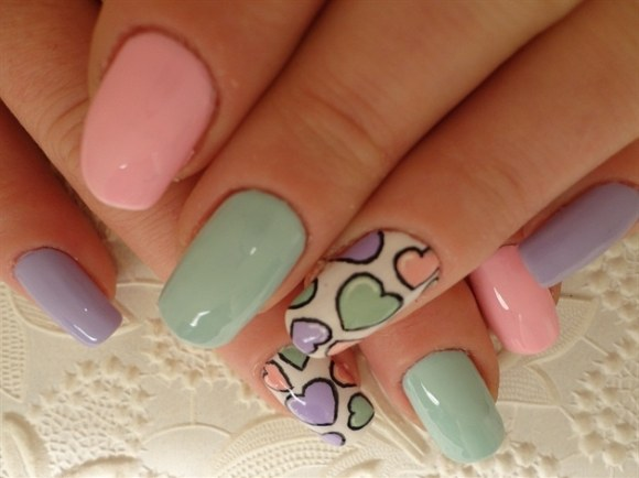 spring accent nail art