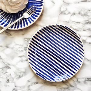 Casa Cubista Stripe Keramikteller blau