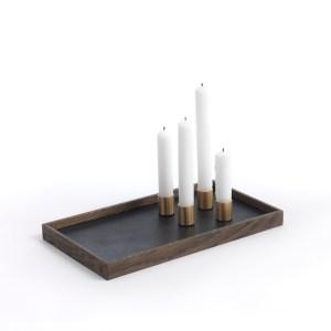 Candle Tray de Luxe - Kerzentablett aus Holz, Messing und Stahl von The Oak Men Dänemark