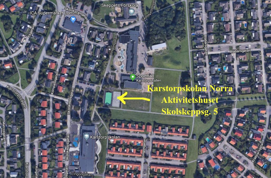 Skräddarsydd karta: Karstorpskolan Norra, Aktivitetshuset, Lomma