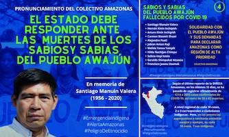 """CAAAP: Colectivo Amazonas: """"El Estado debe responder por la muerte de los sabios y sabias del pueblo Awajún"""" (7-3-20)"""