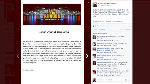Carta publicada por Rudhy Flores Jáuregui desmintiendo el banner donde aparece César Vega. (Imagen: Facebook/RudhyFloresJáuregui)