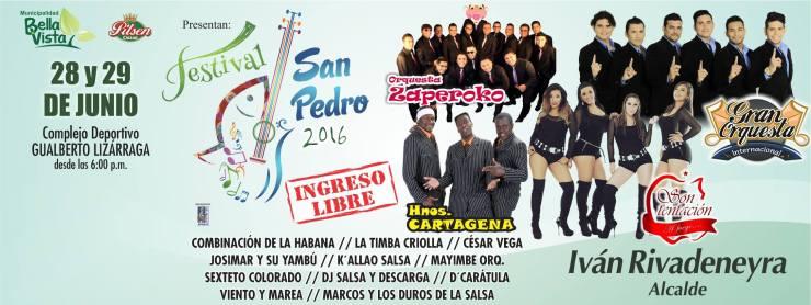 Afiche promocional del Festival San Pedro 2016. (Imagen: Facebook/MunicipalidadDeBellavista)