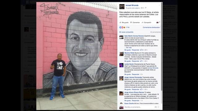 El grafitero conocido como 'El Salsa' jutno al mural de Ismael Miranda. (Foto: Captura Facebook/Ismael Miranda)