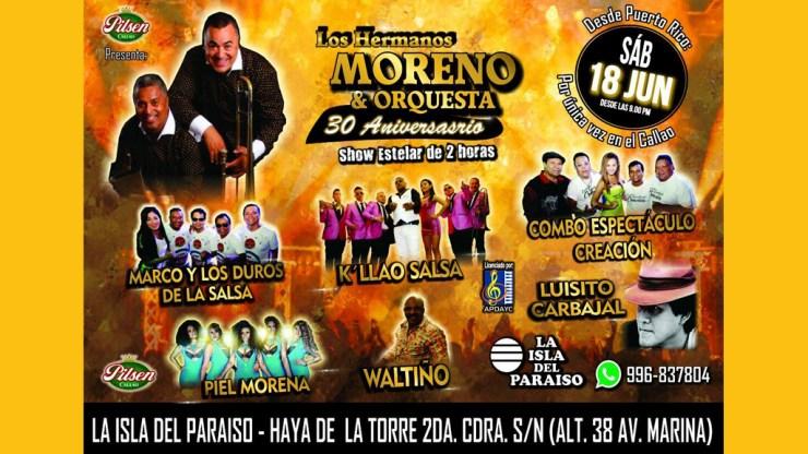 Este es el afiche que anunciaba a Luisito Carbajal en el concierto de Los Hermanos Moreno en La Perla, Callao. (Foto: Google)
