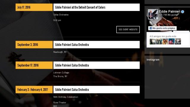 Hace unos días el Perú figuara como último show confirmado del 2016, teniendo como fechas el 21 y 23 de octubre. (Captura: palmierimusic.com)