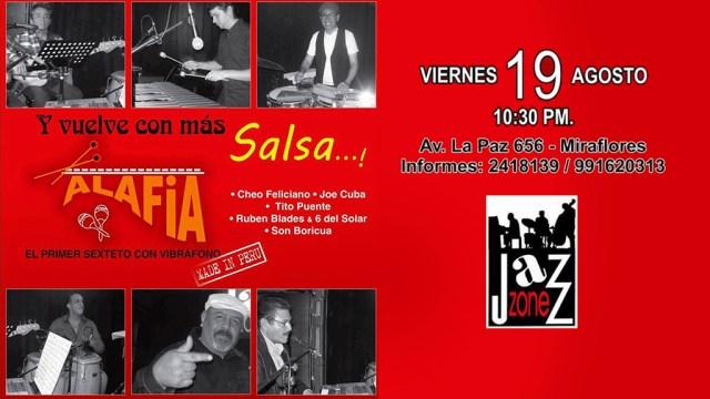 Afiche del show que dará Alafia en el Jazz Zone. (Imagen: Facebook)
