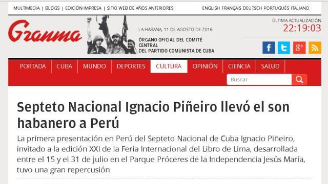 El diario oficial de la isla es otro de los medios locales que ha destacado la gira del Septeto Nacional en Perú. (Foto: Captura portada web de Granma)